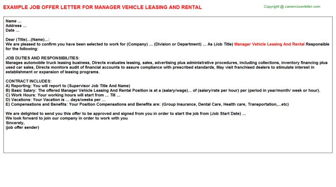 Manager Vehicle Leasing And Rental Offer Letter