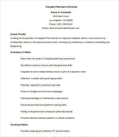 Pharmacist Resume - 9+ Free Word, PDF Documents Download | Free ...