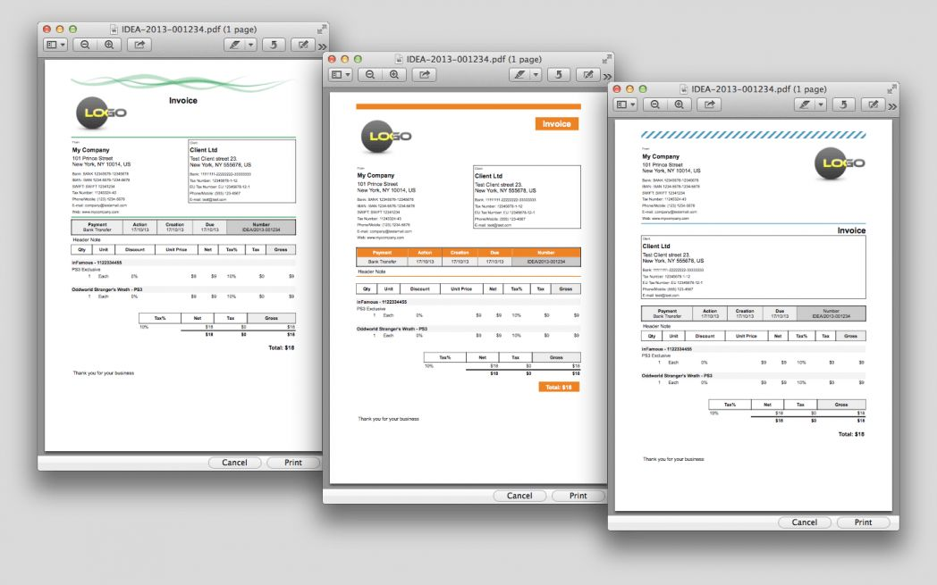 Pdf Invoicing For Ipad Iphone And Mac Easy Invoice Templates Os X ...