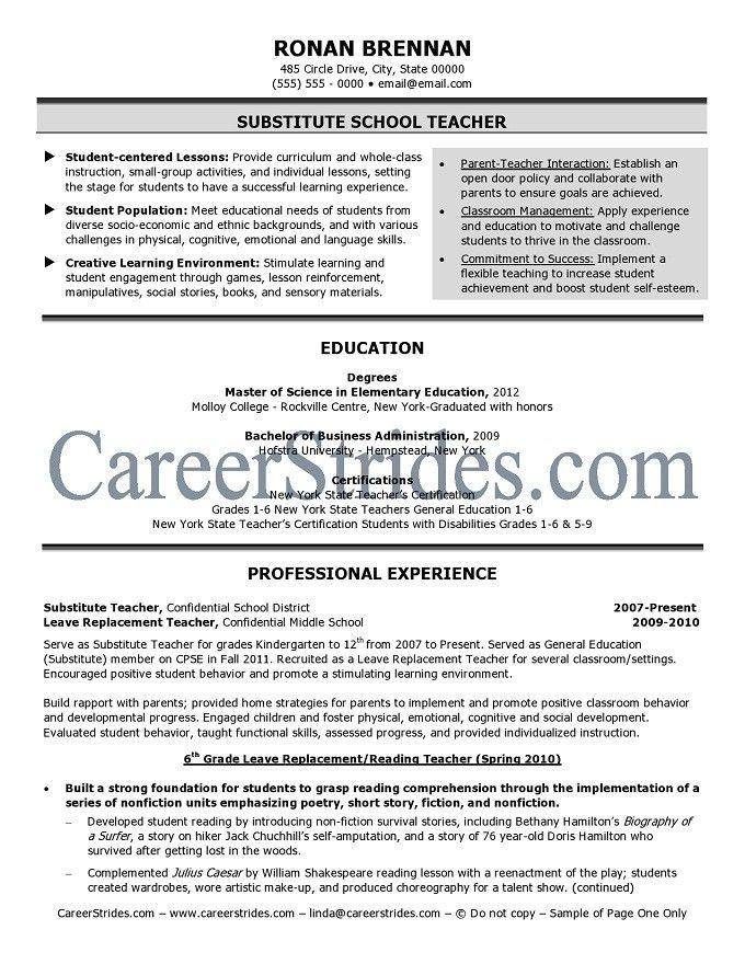 Substitute Teacher Resume Samples | Sample Resumes