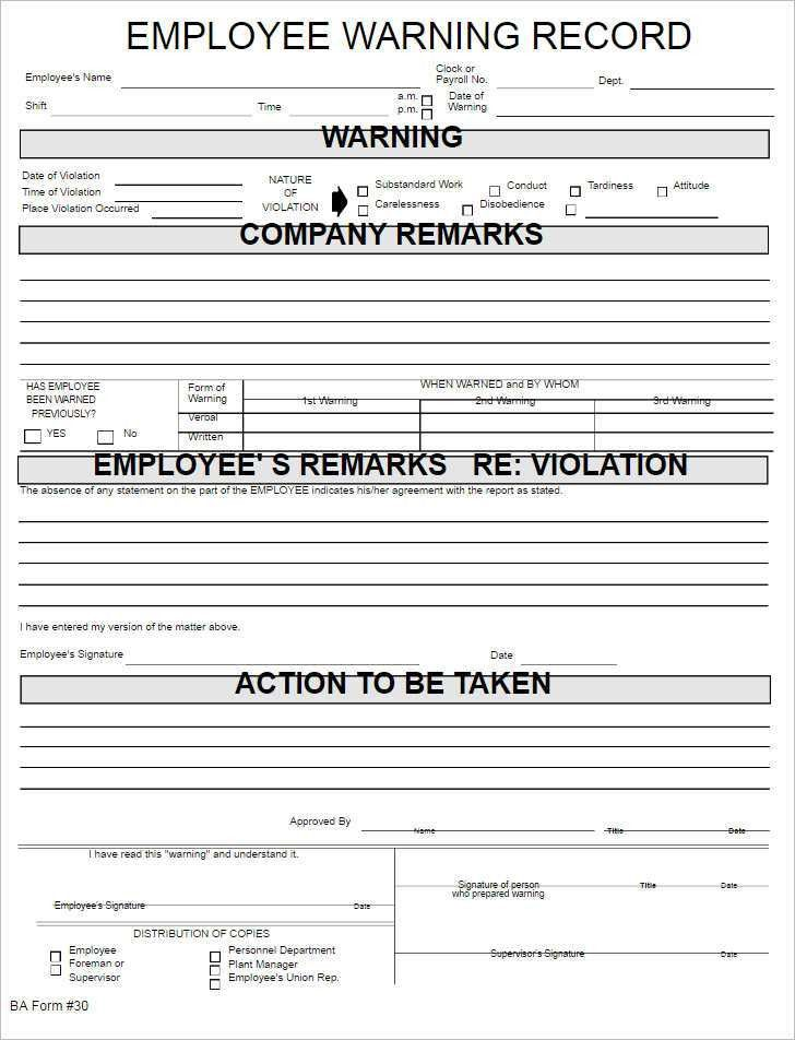 Employee Write Up Form Templates - Free Word, PDF Documents ...