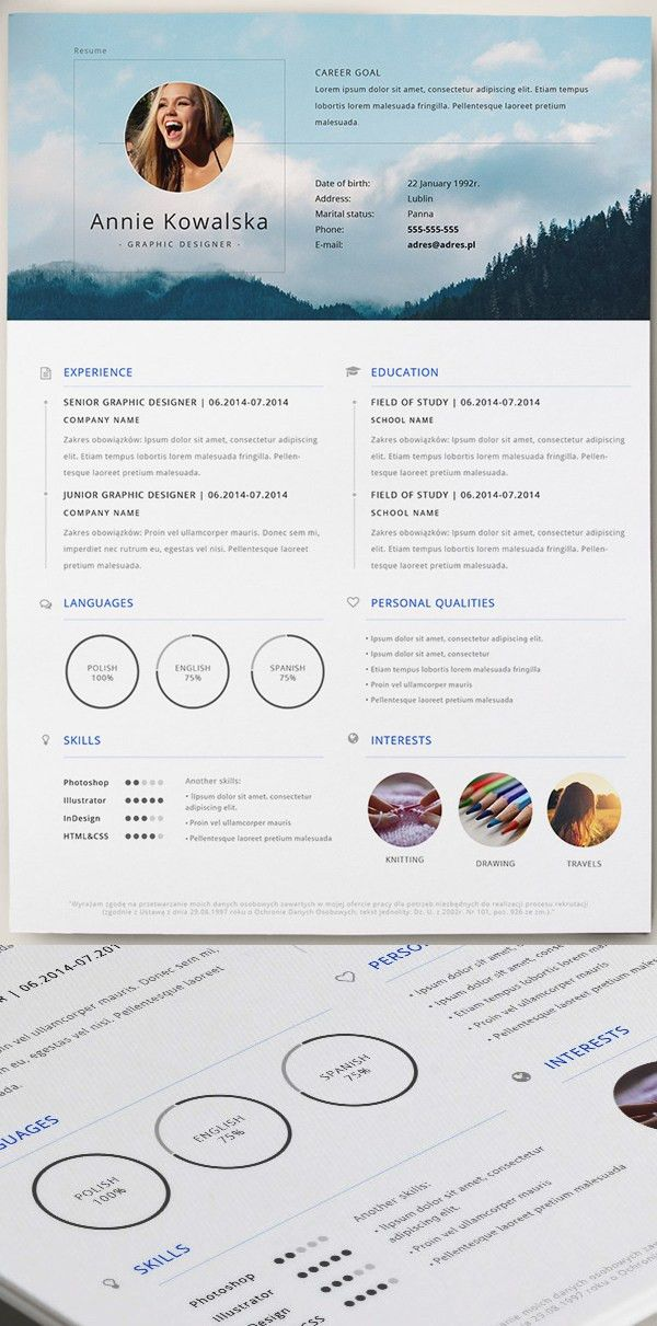 Free Minimalistic Resume/CV Template (AI) | Free PSD Files ...