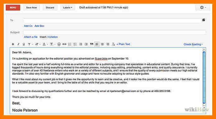 5+ email cover letter sample | park-attendant