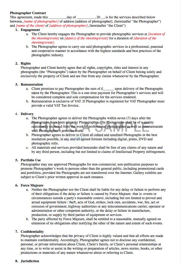 Photographer Contract Template (x2)
