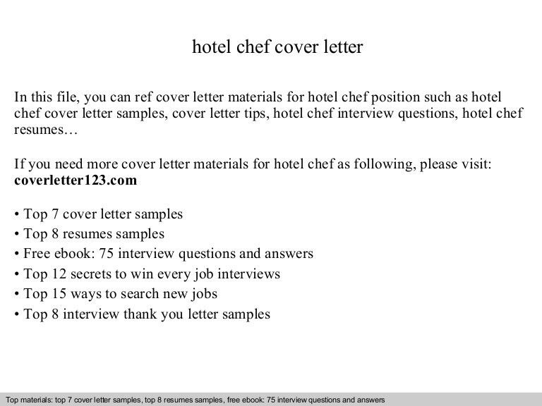 Hotel chef cover letter