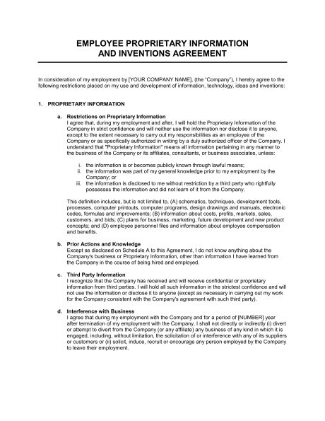 Proprietary Information and Inventions Agreement - Template ...