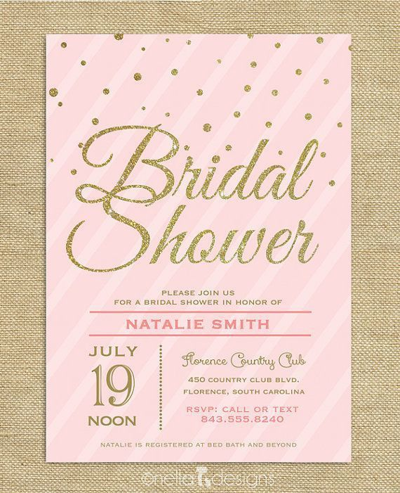 Blush Pink & Gold Glitter Bridal Shower Invitation Confetti ...