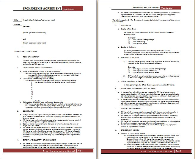 MS Word Sponsorship Agreement Template | Free Agreement Templates