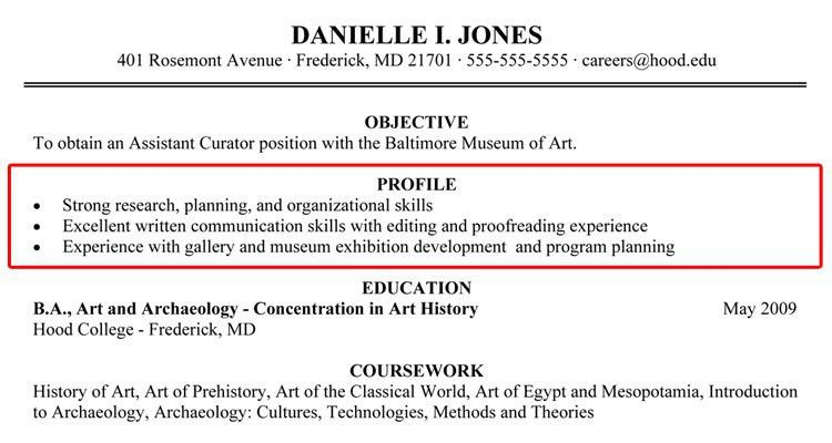 we found 70 images in resume profile summary examples gallery ...