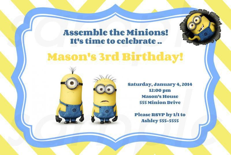 FREE Printable Minion Birthday Party Invitations Ideas Template ...