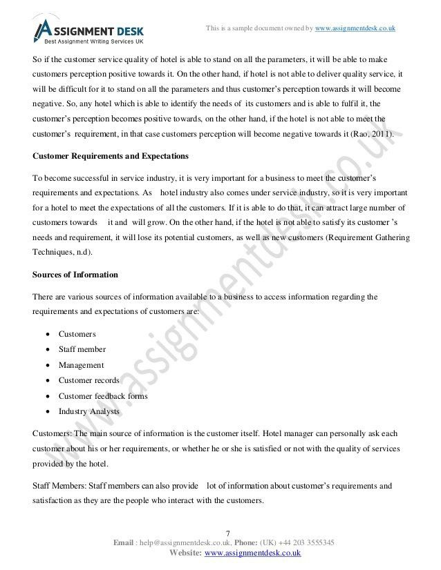 Customer Service in Hospitality Management Assignment Sample