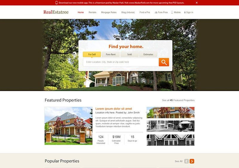Real Estate Website Design Free PSD Template | PSDExplorer