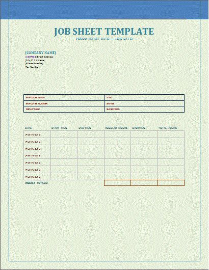 Job Sheet Template | Free Microsoft Word Templates | Free ...