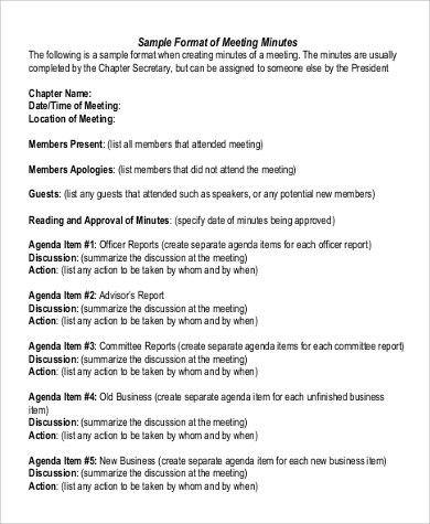 Sample Meeting Minute - 9+ Examples in Word, PDF
