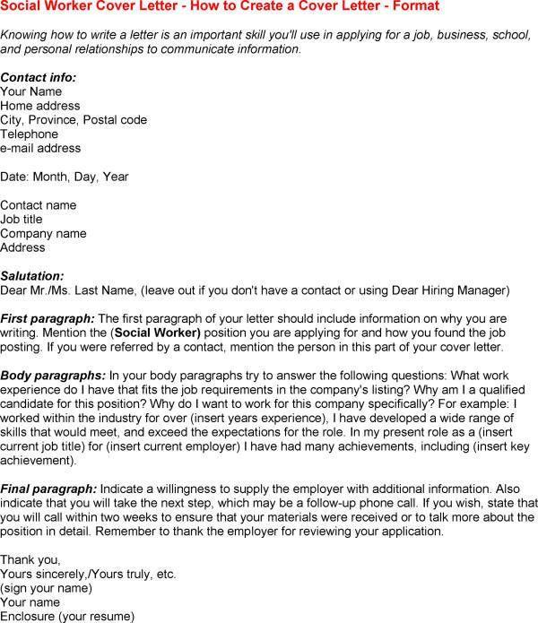 Cover Letter Social Work - My Document Blog