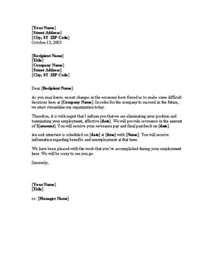 layoff letter sample the best letter sample termination letter ...