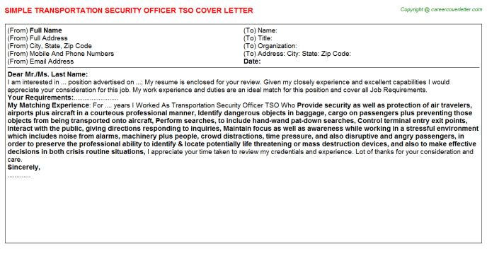 Transportation Security Officer Tso Cover Letter