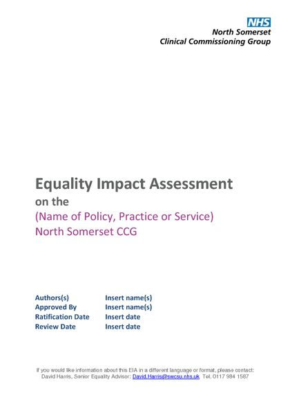 Equality Impact Assessments (EIAs) | NHS North Somerset CCG