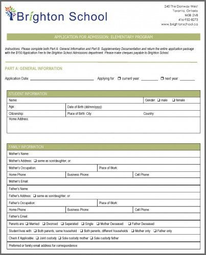 Admission Forms Of Schools | Howto.billybullock.us
