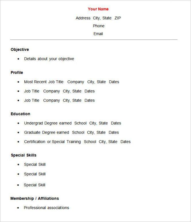 Simple Resume Templates Word - Resume Sample