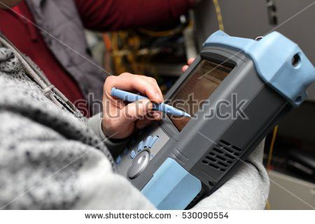 Technician Cleaning Fiber Optic On Telecom Stock Photo 517530298 ...