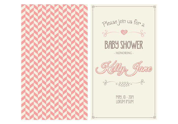 Baby Girl Shower Invitation Vector - Download Free Vector Art ...