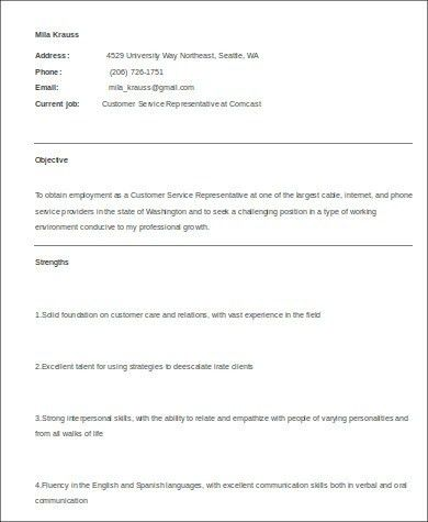 Sample Medical Customer Service Resume - 6+ Examples in Word, PDF
