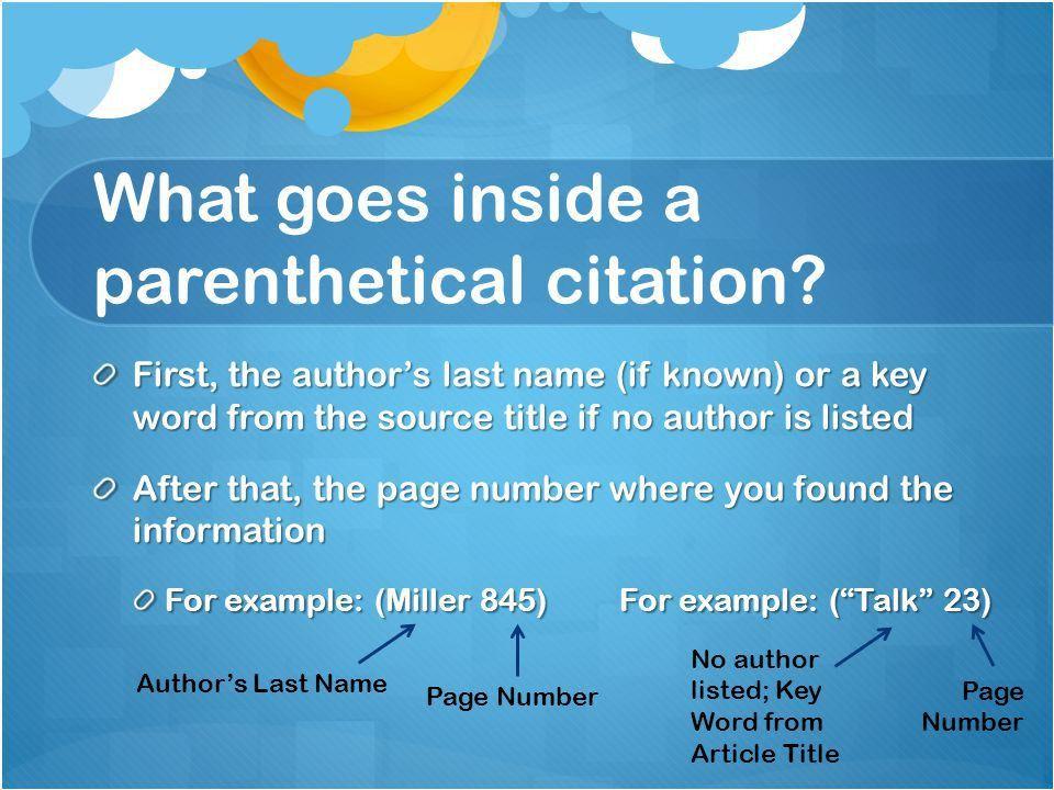 Parenthetical Citations Background Notes. What is a parenthetical ...