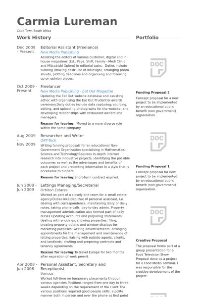 Editorial Assistant Resume samples - VisualCV resume samples database