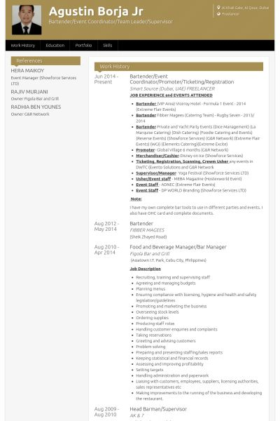 Bartender Resume samples - VisualCV resume samples database