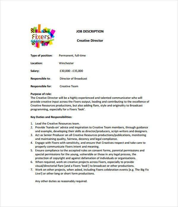 Job Description Templates - 21+ Free Word, PDF Documents Download