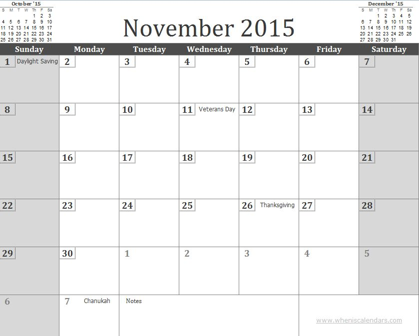 Free November 2015 Calendar Template with Holidays