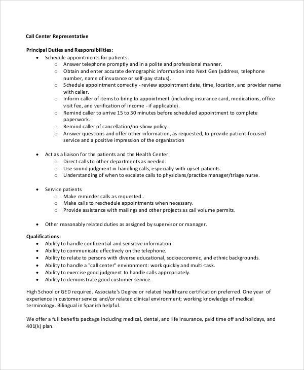 Sample Call Center Resume - 8+ Examples in Word, PDF