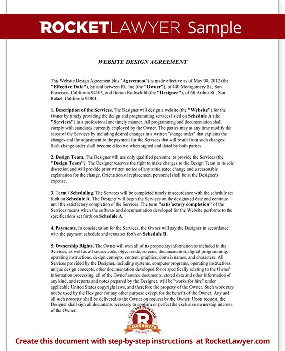 Web Design Contract Template - Free Website Design Agreement (with ...