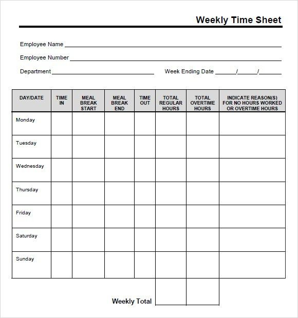 9+ Free Printable Time Cards Templates - Excel Templates