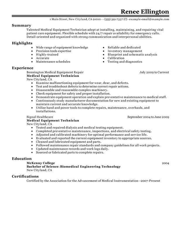 Unforgettable Medical Equipment Technician Resume Examples to ...