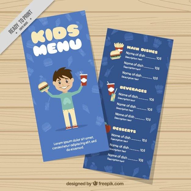 Kids menu template Vector | Free Download