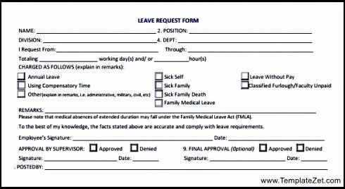 Leave Request Form | TemplateZet