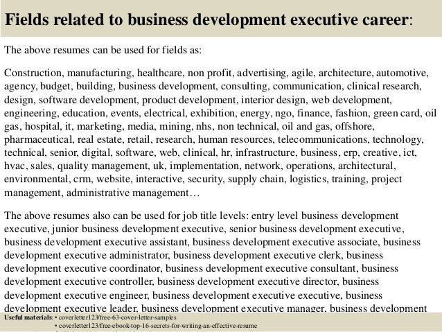 Top 5 business development executive cover letter samples