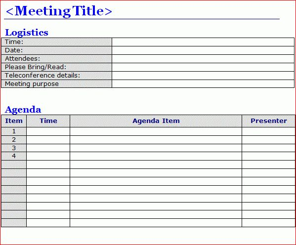 Free Meeting Agenda Templates