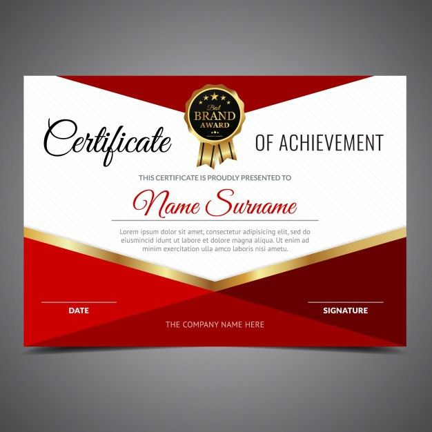Red and white certificate of achievement Vector | Free Download