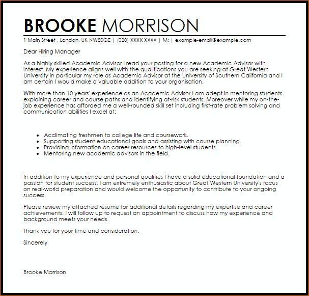 6+ academic advisor cover letter | academic resume template