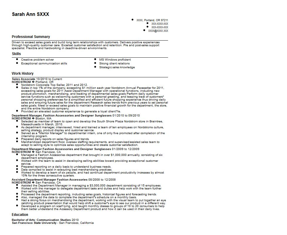 Nordstrom's Retail Sales Associate Resume Sample ?Quintessential ...