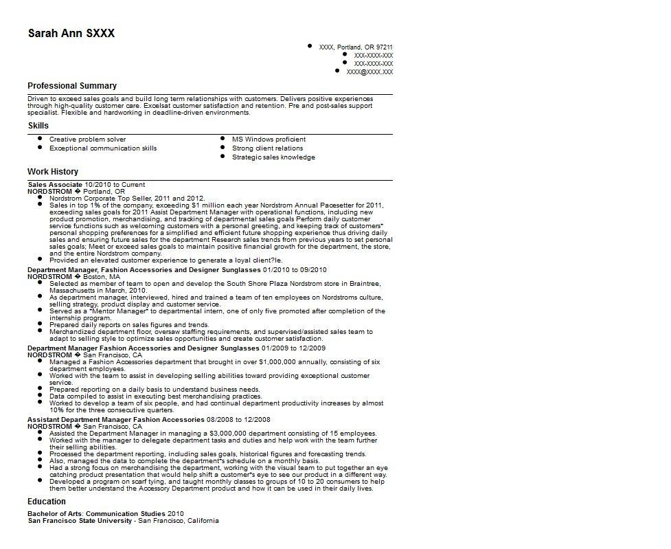 sales associate resume description