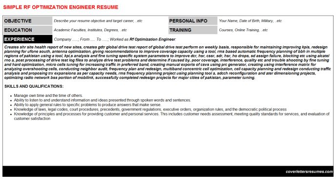 Rf Optimization Engineer Cover Letter & Resume