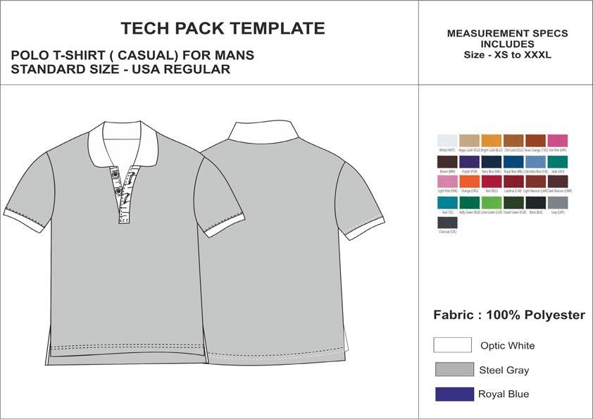 Tech Pack Template Mens Half Sleeves Formal Polo T-Shirt USA ...