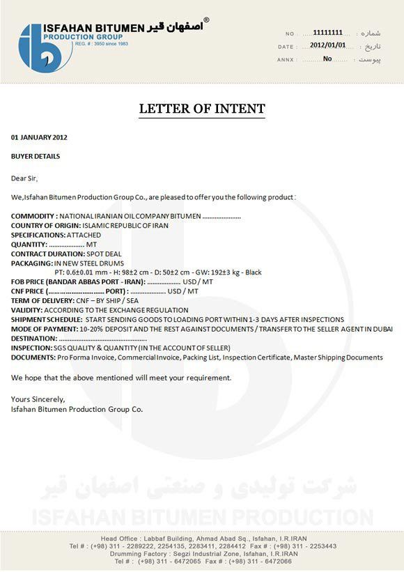 Letter of Intent|Contracts Terms & Documents