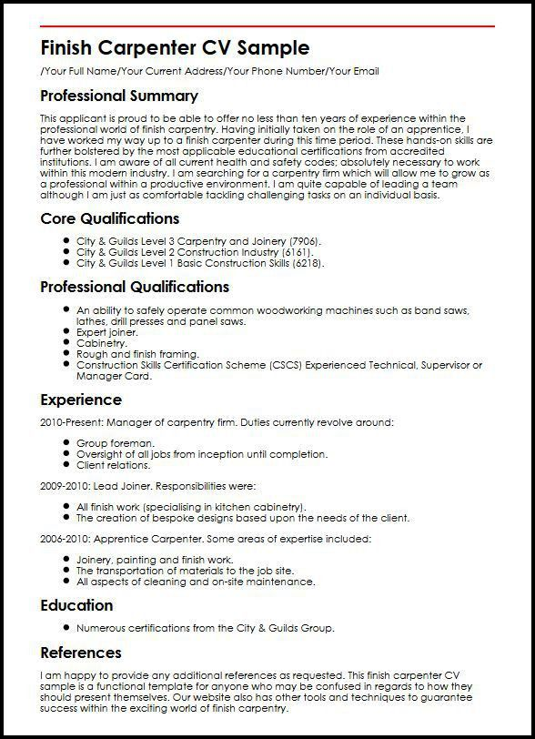 carpenter resume sample resume carpenter resumeexamplessamples
