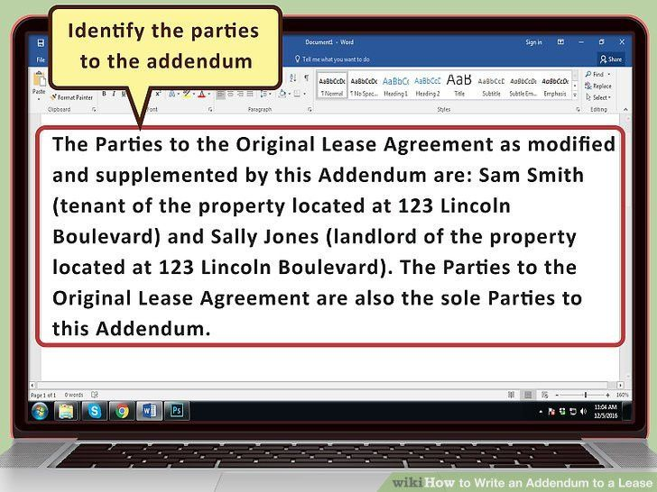 How to Write an Addendum to a Lease (with Sample Addendums)