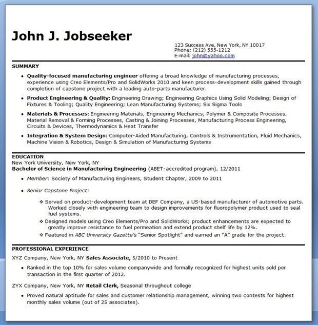 26+ Entry-Level Manufacturing Engineer Resume Template Examples ...